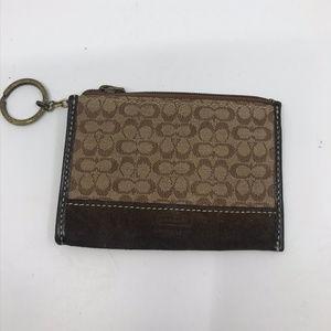 COACH Brown Tan Jacquard Design Wallet